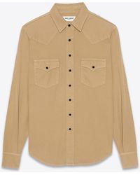 Saint Laurent Western shirt in beige stonewashed denim - Neutro