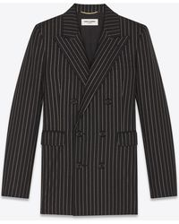 Saint Laurent Double-breasted gabardine jacket with Lurex stripes - Nero