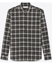 Saint Laurent Western Checked Cotton Shirt - Black