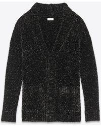 Saint Laurent Long Cardigan In A Lurex Chenille Knit - Black