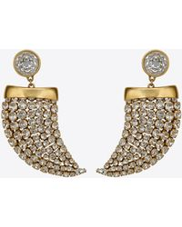 Saint Laurent - Smoking Horn Earrings In Gold Metal And White Crystals - Lyst