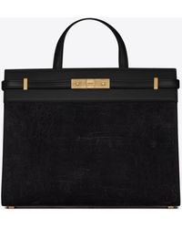 Saint Laurent Manhattan Small Shopping Bag In Crocodile-embossed Nubuck And Smooth Leather - Black