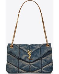 Saint Laurent Puffer Small Bag In Quilted Vintage Denim And Suede - Blue
