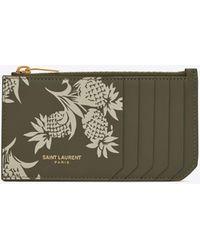 Saint Laurent Fragments Porte-cartes Zippé En Cuir À Imprimé Ananas - Multicolor