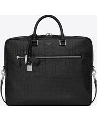 Saint Laurent - Sac De Jour Large Briefcase In Crocodile Embossed Leather - Lyst