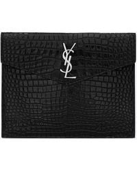 Saint Laurent UPTOWN Baby pouch in shiny crocodile-embossed leather - Schwarz