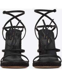 Saint Laurent Cassandra espadrilles compensées en cuir et monogramme noir