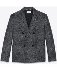 Saint Laurent Oversized Glen plaid jacket - Grigio