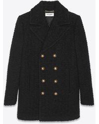 Saint Laurent Zweireihiger caban-mantel aus tweed - Schwarz