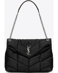 Saint Laurent Puffer Medium Bag In Quilted Lambskin - Black