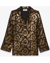 Saint Laurent Pyjama Shirt In Lotus Lamé Silk Jacquard - Black