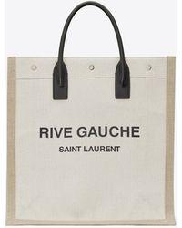 Saint Laurent Rive gauche n/s shopper aus leinen und baumwolle - Weiß