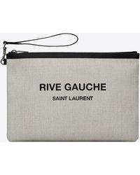 Saint Laurent RIVE GAUCHE pochette zippée en toile de lin - Multicolore