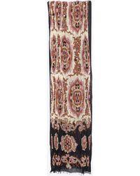 Saint Laurent Long Pleated Scarf In Wool And Silk Etamine - Black