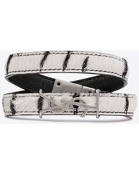 Saint Laurent Opyum Double-wrap Bracelet In Zebra Printed Pony Effect Leather - White
