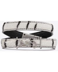 Saint Laurent OPYUM double-wrap bracelet in zebra printed pony effect leather - Bianco