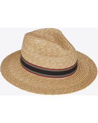 Saint Laurent Straw Panama Hat With Contrasting Striped Canvas Ribbon - White