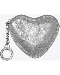 Saint Laurent - Love Key Holder Case In Platinum-colored Crinkled Leather - Lyst