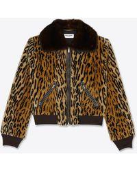 Saint Laurent Giubbotto Teddy con stampa leopardata in eco-pelliccia e visone - Multicolore