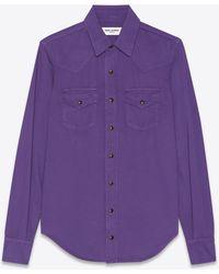 Saint Laurent Hemd im western-stil aus echtem denim in violett - Lila
