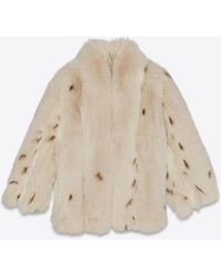 Saint Laurent Cappotto in pelliccia di volpe con stampa lince - Multicolore