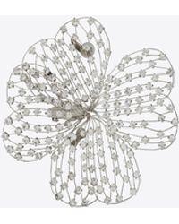 Saint Laurent Broche trèfle en métal et cristal - Métallisé