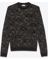 Saint Laurent Oversize Fit Jacquard And Lurex Sweater With Radio Print - Black