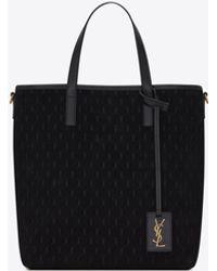 Saint Laurent Toy le monogramme n/s shopping bag in suede e morbida pelle - Nero
