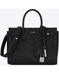 Saint Laurent - Baby Sac De Jour Souple Bag In Black Grained Leather - Lyst