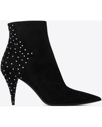 Saint Laurent KIKI ankle boots in suede decorated with studs - Nero