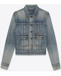 Saint Laurent 40s Jacket In Dirty Sandy Blue Denim