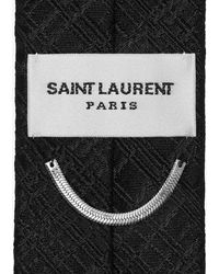 Saint Laurent Cravate fine à carreaux en jacquard de soie - Noir