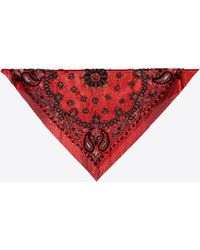 Saint Laurent Mesh Triangle With Bandana Embroidery - Red