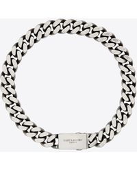 Saint Laurent Metal Curb Chain Necklace - Metallic