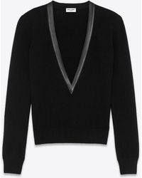 Saint Laurent Deep V-neck knitted sweater in cashmere and leather - Nero