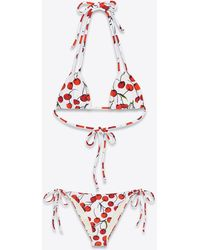 RIVE DROITE Triangle With Cherry Print - White