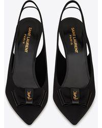 Saint Laurent Anais Slingback Bow Court Shoes - Black