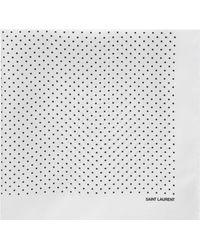 Saint Laurent - Foulard en soie ivoire à imprimé pois noir - Lyst