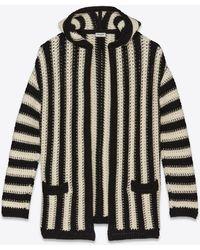 Saint Laurent Baja Hoodie Cardigan In Striped Wool Crochet - Black