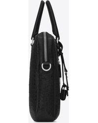 Saint Laurent Sac De Jour Briefcase In Crocodile Embossed Leather - Black
