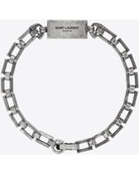 Saint Laurent - Plate Bracelet In Metal - Lyst