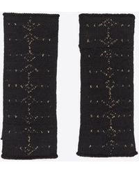 Saint Laurent Knit Wool Mittens With An Arrow Pattern In Lurex - Black