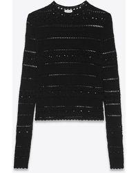 Saint Laurent Pullover in crochet di cotone - Nero