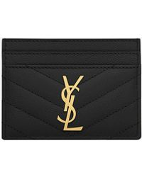 Saint Laurent Monogram Card Case In Grain De Poudre Embossed Leather - Black