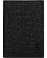 Saint Laurent Tiny Monogram Passport Case In Crocodile-embossed Leather - Black