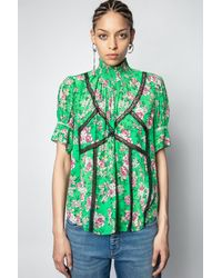 Zadig & Voltaire Tupelo Print Roses Top - Green