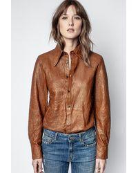 Zadig & Voltaire Tris Cuir Froisse Shirt - Brown