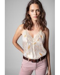 Zadig & Voltaire Top lencero Christy Lame - Metálico