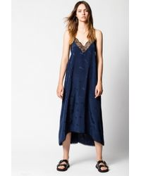 Zadig & Voltaire Risty Jac Guitare Slip Dress - Blue