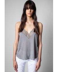 Zadig & Voltaire Top lencero Christy Strass - Gris